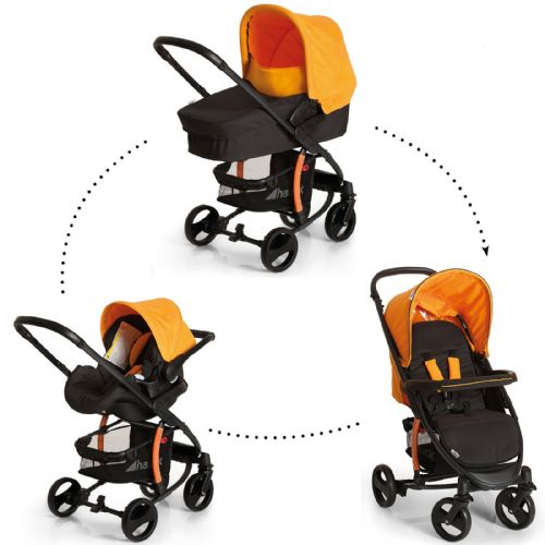 New Hauck Miami 4S Trio Travel System Pushchair Pram Carseat Caviar/Orange+Raincover